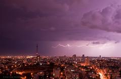 Stormy Weather (Violet Kashi) Tags: city sky storm streets clouds lights evening telaviv lightning purplebluehour