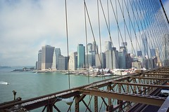 Manhattan Blue Skies (maxcady808) Tags: nyc trip usa holiday newyork colour america 35mm skyscrapers manhattan negative 400 brooklynbridge ricohgr1v fujipro400h film2012103001
