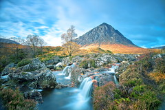 Autumn in Glencoe (PeterYoung1) Tags: longexposure autumn mountains nature beautiful canon river landscape scotland highlands rocks colours scenic hills glencoe atmospheric 1740 buchailleetivemor buchaille 5d2 canon5d2