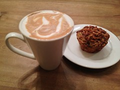 My friend came and took me shopping today but not before a latte and savory muffin. (shireye) Tags: toronto ontario beach yummy cafe friend muffin latte savory thebeach queenstreeteast
