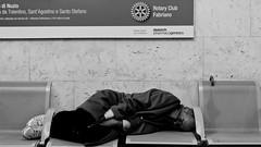 Rotary Club (IronTuna) Tags: bw station canon platform bn uomo fotografia stazione treno viaggio dormire marche fabriano biancoenero panchina marmo contrasto societ viaggiare 550d canonefs1855mmf3556isii canoneos550d