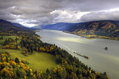 Columbia River Classic (Darrell Wyatt) Tags: autumn fall clouds forest river boat meadow columbiariver barge hdr capehorn skamaniacounty hdraintsobadifyoudoitright