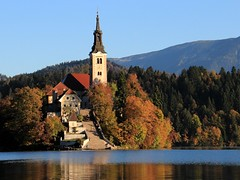 Autumn on Bled (SilvyP (on and off)) Tags: autumn light church reflections slovenia bled otok lakebled blejskiotok cerkev blejskojezero odsevi jesenskebarve silvyp islandonlakebled
