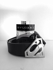My belt, my cologne. (Lester Ong) Tags: sports glass leather fashion metal shopping comics movie logo relax dc belt clothing bottle nice perfume designer branded cologne calm spray superman wear advertisement smell buy accessories trend transparent buckle liquid apparel fragrance iphone refresh bvlgari