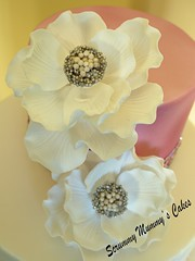 Fantasy Flower Wedding Cake 3 (Scrummy Mummy's Cakes) Tags: white weddingcake twotier fantasyflower pearlpink jeweltrim