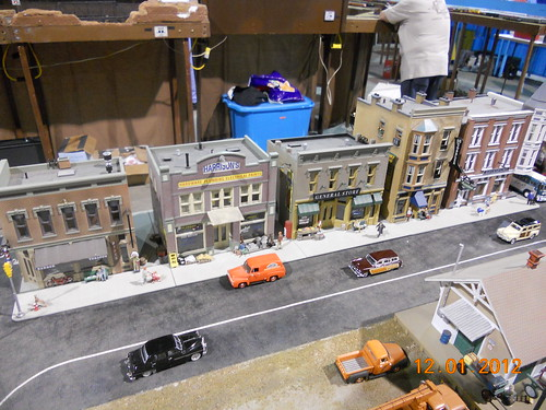 Model train downtown DPM buildings in HO-scale at Oklahoma