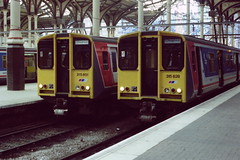 19890812 004 Liverpool Street. NSE Liveried Class 315 Units, 315851 And 315828 (15038) Tags: electric br trains emu railways britishrail liverpoolstreet class315 315851 315828