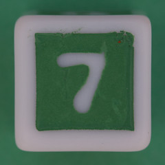 Phase 10 Dice Green number 7 (Leo Reynolds) Tags: dice canon eos iso100 7 number seven di 60mm f80 onedigit number7 0sec 40d hpexif 066ev numberset grouponedigit xsquarex xleol30x xxx2013xxx