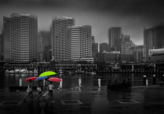 Primary colors :) (JohnNguyen0297) Tags: colors primarycolors sydney harbor sydneyharbor foggy raining rain umbrellas girls mono bnw blackandwhite selectivecolor