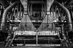 heart of the beast II (Zesk MF) Tags: bw black white machine maschine urbex urban exploration industry factory steel tubes rhren zesk nikon terre rouge