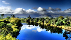 DRAMATIC REFLECTIONS (elliott.lani) Tags: river water reflection reflections blue bluesky trees foliage nature scenictasmania scene view cloud clouds sky skies