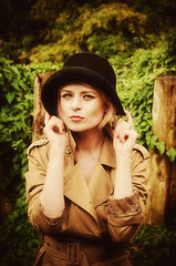 Autumn Colours (sophie_merlo) Tags: model models girl woman sexy blonde hat bowlerhat fashion style autumn fall seasons