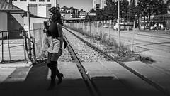 Outskirts (Per sterlund) Tags: slakthusomrdet railway railroad track people panasonic panasonicdmcgx7 bnw bw baw 2016 blackandwhite blackwhite street streetphotography strasenfotografie gatufoto stockholm sweden suecia sude fotografiadistrada fotografadecalle photographiederue svartvitt