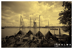 Back in time (windmills, rowing boats and more) Tags: halma kinderdijk windmill landscape old