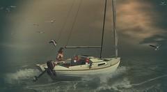 Skip~Sailing (Skip Staheli (Clientlist closed)) Tags: skipstaheli secondlife sl banditif avatar virtualworld dreamy digitalpainting sailing boat water ocean waves splash summer jayteddermurs explore action