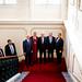 (Balról jobbra) Balog Zoltán, Masát András, Edmund Stoiber, Erwin Teufel és Orbán Viktor megérkeznek az Andrássy Egyetem 15 éves jubileumi ünnepségére 2016. szeptember 15-én.