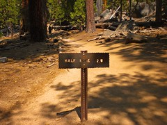 Trail Sign to Half Dome (Lost in Flickrama) Tags: yosemite nationalpark hiking backpacking adventure johnmuirtrail wilderness granite rocks pinetrees california