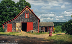 Heading back to the Cottage (sminky_pinky100 (In and Out)) Tags: rossfarmmuseum newross workshop womanincostume scenic historical pretty ladnscape barn travel tourism outdoors novascotia canada omot cans2s