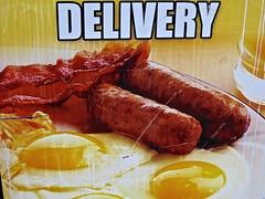 Delivery, New York, NY (Robby Virus) Tags: newyork newyorkcity nyc ny city bigapple manhattan delivery breakfast eggs sausage restaurant sign