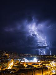 Dalla finestra. (Umberto Marcacci) Tags: fulmine stadio marassi lightning lightningstorm tempesta fulmini genova genoa