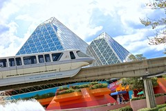Monorail Monday! (jordanhall81) Tags: epcot center monorail journey into imagination with figment calssic fountain upside down sky summer vintage wdw walt disney world lake buena vista orlando florida vacation theme park amusement ride show pyramid glass transportation rail train