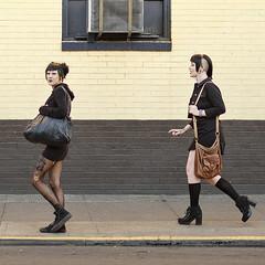 3292 Autumn Goth Chic (eyepiphany) Tags: fashion septemberissue portlandfashion goth gothchic decisivemoment streetphotography chunkysilverpentagramearrings gothbuddies gothshopping shavedheadwithbangs dyedgreenhighlights fallfashion