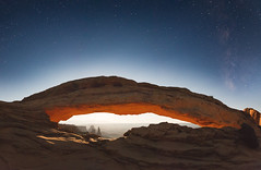 Mesa Arch Under Harvest Moon (Kelly DeLay) Tags: utah astrophotography nightphotography nationalpark mesa arch canyonlands