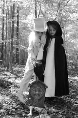 Ghostly Gentleman and Ghoul (jelizholt) Tags: halloween cemetery graveyard ghost tombstone haunted horror demon scarycostume vintagehalloween spookyforest