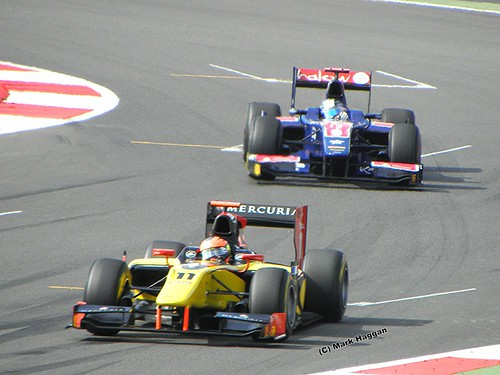 Romain Grosjean about to win the 2011 GP2 Sprint Race at the 2011 British Grand Prix in Silverstone