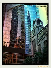 Architecture, Central Hong Kong (k8rry) Tags: china reflection architecture buildings hongkong kodak central clocktower  pixlr