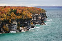Autumn at Pictured Rocks National Lakeshore (Michigan Nut) Tags: autumn usa fall nature leaves landscape photography sandstone midwest rocks waves michigan scenic greatlakes erosion coastline upperpeninsula lakesuperior picturedrocksnationallakeshore johnmccormick michigannutphotography