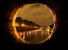 WaterFire Roma seen through the Oculus in Ponte Sisto