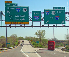 Signs at I-29 & I-635, 28 Mar 2012 (photography.by.ROEVER) Tags: road signs sign drive march highway ramp driving onramp missouri freeway interstate exit 2012 interchange i635 offramp i29 interstate29 plattecounty exit12 driverpic interstate635 exit12a exit12b march2012