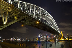 7th October (bursteardrum) Tags: longexposure travel bridge holiday travelling night canon honeymoon sydney australia photoaday 7d lighttrails operahouse sydneyharbour 2012 sydneyharbourbridge 366 canon7d bursteardrum samueldore