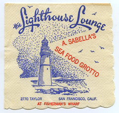 Vintage Napkins (jericl cat) Tags: sanfrancisco california cliff lighthouse illustration paper typography design lounge ephemera printing wharf taylor font type grotto l fishermans script the saefood
