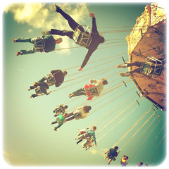 Three minute flight (Irene2005) Tags: vintage square october flight carousel tiltawhirl intheair iphone hss ncstatefair iphoneography sliderssunday