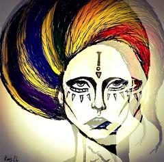 Gaga (kodenko26) Tags: pink blue red portrait people black green girl face fashion yellow lady illustration magazine lesbian hair rainbow eyes artist purple 26 alien lips fantasy lgbt heads despair monsters melancholy sorrow extraterrestrial gaga kod