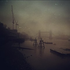London fog (mattbooy) Tags: mist london water fog thames towerbridge river square grey construction crane sierra squareformat banks iphoneography instagramapp uploaded:by=instagram foursquare:venue=4bc88fbf8b7c9c74915938cf mextures