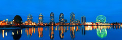 Science World Wide [Explored] (boingyman.) Tags: blue canada reflection skyline night vancouver canon buildings cityscape bc pano explore hour 1022 scienceworld explored t2i boingyman