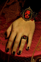 Steamgoth Jewelry Set - Red and Black Skeleton Lolita portrait Cameo Bracelet / Steampunk Ring - Red (Catherinette Rings Steampunk) Tags: art fashion dark skeleton gothic goth jewelry ring lolita bracelet cameo steampunk steamgoth