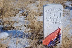 Headstone of M.W.Keogh Captain Col. 7th Cavalry where he fell on June 25 1876 at the battle of Little Bighorn (Julia R2012) Tags: snow headstone captain nativeamericans cavalry custer 1876 littlebighornbattlefield mwkeogh
