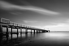 The Pier (Tony N.) Tags: longexposure sunset sea mer france water clouds pier blackwhite eau perspective nuages quai arcachon coucherdesoleil noirblanc aquitaine poselongue andernos nikkor1755 d300s