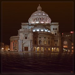 Christian Science Church (Matthias Harbers) Tags: light usa reflection church water pool boston night canon gold abend licht wasser nacht massachusetts religion kirche science powershot christian dxo viewpoint hdr reflektion g11 natureart 3xp christiansciencechurch akvis dxoviewpoint
