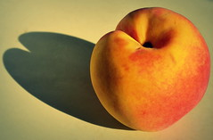 Peach (ekraz photography) Tags: shadow stilllife food color colors fruit nikon shadows peach ekraz d3100 nikond3100