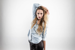 T's Jeans Blouse I. (Adam Haranghy) Tags: girls light portrait woman white girl leather fashion youth studio lights young style portrt blouse jeans teen jacket teenager leder jacke bluse hemd