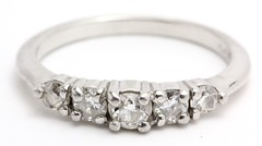 1024. Platinum and Five Stone Diamond Ring