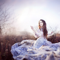 Fluttering Dreams (Rob Woodcox) Tags: morning white beauty fashion sunrise vintage hair dress gorgeous surreal stunning brunette weddingdress magical goldenhour fluttering robwoodcox robwoodcoxphotography