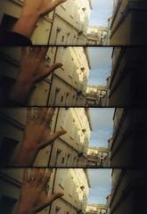 Supersampler (Anna Rotundo) Tags: blue windows sky building window buildings supersampler hand fingers ring finestra cielo mano palazzo azzurro dita palazzi finestre anello analoguephotography fotografiaanalogica