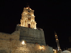 Clock Tower and Mosque (Axiraa) Tags: tower clock night greek aegean mosque clear greece rodos rhodes rhodos dodecanese rodhos  dodeknisa