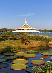 Garden of the Great King / Rama IX Park / Bangkok (I Prahin | www.southeastasia-images.com) Tags: park lake building green nature water garden giant thailand leaf memorial waterlily lily lotus bangkok lilies lilly kingspark spikes naturesfinest nymphaeaceae victoriaamazonica flickrsbest suanluang rama9 suanluangrama9 ramaixpark naturewatcher giantwatertropicallily